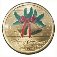 Australia 2012 Merry Christmas Jingle Bells $1 Coloured UNC Coin Carded