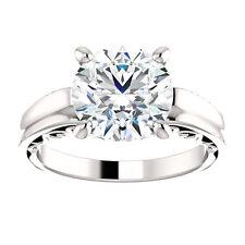 10k White Gold Setting Semi Mount Ring Round Milgrain Engagment Ring Vintage