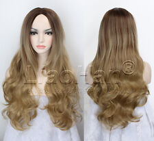 Two Tone Ombre Wig Long Wavy Ombre Brown Wig Dip Dye Brown Hair Wigs for Women