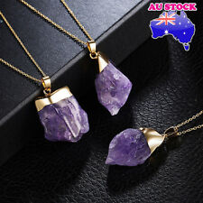 Wholesale 18K Gold Plated Natural Amethyst Crystal Pendant Necklace