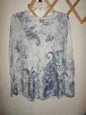 CHICO'S SHIMMERY PAISLEY JANA SHIRTTAIL PULLOVER KNIT TOP NWT CHICO'S 3 L/XL