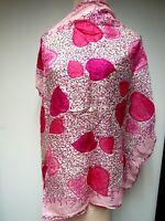 VTG Sheer Silk Chiffon Hearts 30 Square Scarf Valentine Candy Style Pink Magenta