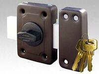 Kowal Universal Long Throw Wooden Door And Gate Lock, Rim Lock With 3 Keys