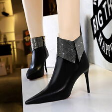 Womens Rhinestones Ankle Riding Boots Pointed Toe High Heels Stilettos Shoes NEW
