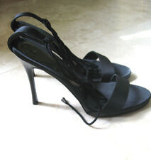 New BCBG MAX AZRIA BLACK SHOES Satin and leather OPEN TOE  7B/37 Italy