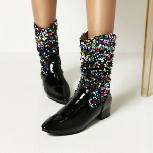 Fashion Nightclub Style Ladies Sequin Stitching Pointed High Heel Ankle Boot New