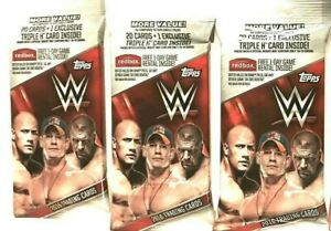 2016 TOPPS WWE FAT PACKS  (3 PACK LOT ) ( EXCLUSIVE TRIPLE H CARD )