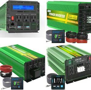 ⭐️EDECOA Power Inverter PURE SINE WAVE DC 12V 24V AC 110V 120V LCD USB Remote