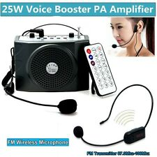 Small 25W Voice Booster Amplifier+Remote+FM Wireless Microphone For Tour Guides