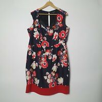 City Chic Womens Plus Size M Medium Red Black Floral Fit & Flare Dress