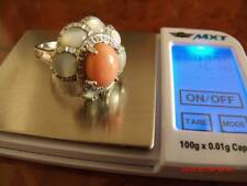 14k gold ring with  coral,diamonds and MOP