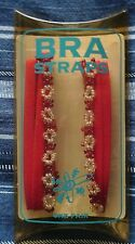 A PAIR OF THIN RED BEADED FASHION BRA STRAPS (F102HP-B1) - SEALED PACKAGING