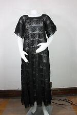 vintage mexican croceht lace dress S handmade new black gypsy hippie peasant