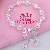 "925 Sterling Silver Bead Link Bracelet Small Womens Kids Sizes 5"" 6"" 7"" 7.5"" D27"