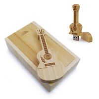 8/16/32/64GB USB Flash Memory Drive Bamboo Wood Guitar Case Christmas Gifts