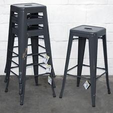Set of 4 Graphite Grey Metal Industrial Bar Stool Breakfast Kitchen Bistro Cafe