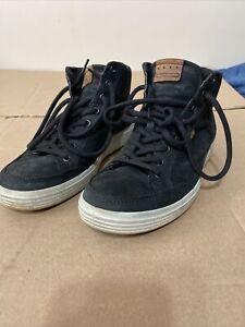 ECCO Soft 7 High Top Sneaker Black Nubuck Leather Mens EU 41 Us Size 7