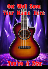 Acoustic Bass Guitar cptmi50 Get well soon card a5 Personalised Greetings