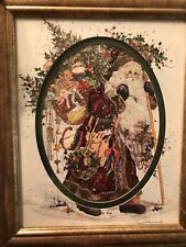 Framed Old World Santa Clause Chrismas Art Pictures By Peggy Abrams Toys In Tow