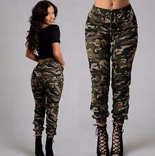 Damen Camouflage Hose Skinny Hüfthose Röhre Armee Militär Stretch Pants Cargo HS