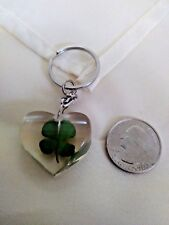 COOL SHAMROCK KEYCHAIN AWESOME REAL FOUR LEAF CLOVER KEY RING