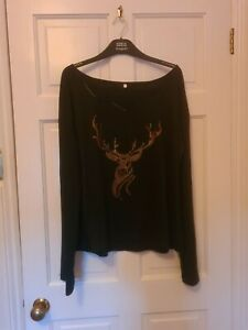 Ladies Black Stag with gold rhinestone Top Size 2XL 16