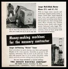 1954 Jaeger Power Hoe cement mortar mixer Hoister tower photo vintage print ad
