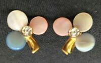 Vg 3-Leaf Clover Screwback Earrings Crystal Stone Pink Blue White Goldtone 5157F