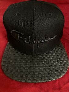 Filipino Hat Philippines Pinoy Pinay Champion Supreme Snapback Black Weave Brim