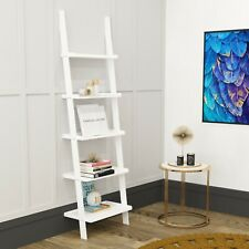 Stylish Ladder Shelving Unit 5 Tier Wall Leaning Bookcase Storage Display
