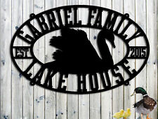 Swan Lake House Sign - Personalized Custom Metal Large  Sign Cottage Cabin Sign