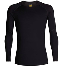 Icebreaker Merino Men's 150 Zone Long Sleeve Crew Neck Shirt, Black/Mineral, Med
