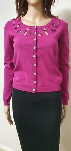 Alannah Hill size 10 mauve color cardigan . Button up . Stretch knit .