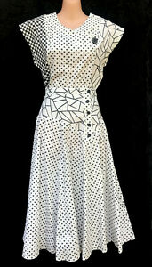 BARRY JOSEPH Original 80's Vintage Black White Check/Spot Skirt Top Set (fits 6)