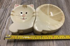 Ceramic 2 Piece Cat Kitten Food And Water Dish / Bowl Tan Ivory Color Feeding