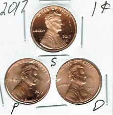 2017-D-P-S Three Uncirculated Cent Coins; San Francisco is from a Proof Set!