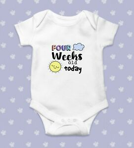 Four Weeks Old Today Baby Bodysuit   Baby Shower Gift   Cute Baby Clothes   Funn