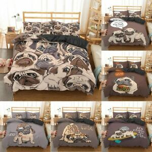 Cartoon Pug Dog Bedding Sets Dog Bed Set Duvet Cover Set Bedding Set Bed Linen
