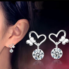 New Sliver Plated Crystal Zircon Fine Fashion Jewelry Butterfly Stud Earrings LC