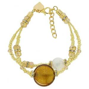 GlassOfVenice Murano Glass Adelina Bracelet - Topaz Gold