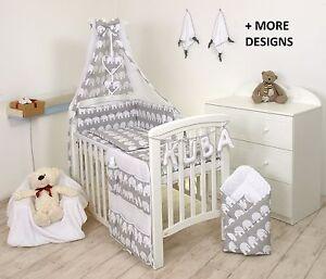 BABY BEDDING SET COT COT BED 3,5,9 Pieces PILLOW DUVET COVER BUMPER CANOPY +more