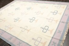 "8'6""x11'10"" Hand Woven 100% Wool Dhurry/Kilim Flatweave Oriental Area rug Ivory"