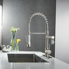 Pull Out Brushed Nickel Kitchen Faucet Swivel Sink Spray Mixer Tap w/Cover