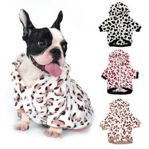 Warm Fleece Dog Pajamas Hoodie French Bulldog Clothes Winter Coat Jacket for Pet
