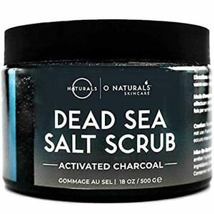 O Naturals Men's Exfoliating Activated Charcoal Dead Sea Salt Scrub Face/Body