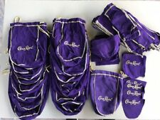 Lot of Crown Royal Bags Drawstring for Crafting Quilts + Cut Bag Pieces