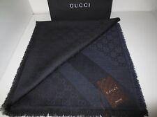 GUCCI LUXURY Damen Schal Tuch Wolle Seide BLACK NAVY GG-Muster 140x140 cm
