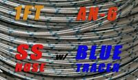 """Blue Tracer Stainless Steel braided  -6AN AN6 5/6"""" Oil Fuel Gas Line Hose 1Ft"""