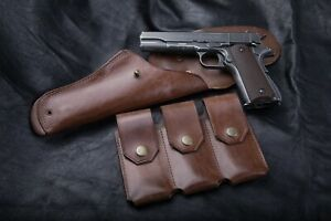 Triple mag pouch for the Colt 1911, genuine leather, handmade, wordwide ship