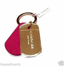 COACH Hang Tag Key Ring Leather Metal Key Chain 63785B Pink Ruby Gold NWT